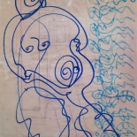 alford_1981_gina_aurora_18x24_01w, Al Ford, Gina and Aurora, 1981, marker on paper, Drawings, Original Art, Gallery East, Ford, Gallery East Network