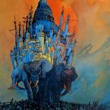 mirolevich_elephants_001w, Elephants, Artem Mirolevich, 2001, Acrylic on Paper, Original Art, Paintings, Gallery East. New York Russian Artist, Russian Pavillion, Mirolevich, Gallery East Network