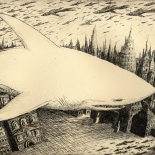 06_artem_mirolevich_shark_in_the_city__w, Shark in the City,  Artem Mirolevich, 2013, Etching, Mirolevich, Gallery East, Gallery East Boston