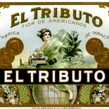 1910c_cigar_el_tributo_4.75x5.25_dlw, El Tributo, B&A Cigar Factory, Cuban Cigar Labels, Lithograph, 1910c, Gallery East, Gallery East Network