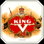 1910c_cigar_king_v_4.5x4.5_dlw, King V, EH Gato Cigar Co, Cuban Cigar Labels, Lithograph, 1910c, Gallery East, Gallery East Network
