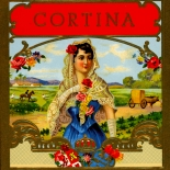 1920c_cigar_cortina_4x4.25_dlw, Cortina, Cuban Cigar Labels, Lithograph, 1920c, Gallery East, Gallery East Network