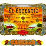 1920c_cigar_el_escentio_6.5x10_dlw, El Escentio, Moehle Litho Co, Cuban Cigar Labels, Lithograph, 1920c, Gallery East, Gallery East Network