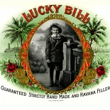 1920c_cigar_lucky_bill_6x10_dlw, Lucky Bill, Cuban Cigar Labels, Lithograph, 1920c, Gallery East, Gallery East Network