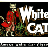 1920c_cigar_white_cat_7x9_dlw, White Cat, Consolidated Litho Co, Cuban Cigar Labels, Lithograph, 1920c, Gallery East, Gallery East Network