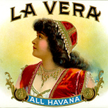 1921_cigar_cuba_lavera_4x13.5_dlw, La Vera, Consolidated Litho Co, Cuban Cigar Labels, Lithograph, 1921, Gallery East, Gallery East Network