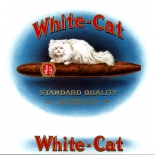 1930c_cigar_white_cat_7x9_dlw, White Cat, Consolidated Litho Co, Lithograph, 1920c, Gallery East, Gallery East Network