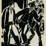 1924_masereel_bk_pg14_dlw, Die Passion Eines Menschen, Page 14, Frans Masereel, 1924, Woodcut, Gallery East, Galley East Network