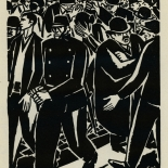 1924_masereel_bk_pg23_dlw, Die Passion Eines Menschen, Page 23, Frans Masereel, 1924, Woodcut, Gallery East, Galley East Network