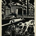 1924_masereel_bk_pg4_dlw, Die Passion Eines Menschen, Page 4, Frans Masereel, 1924, Woodcut, Gallery East, Galley East Network