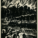 1939_masereel_noir_blanc_4.25x6.25_pl10_dlw, Du Noir au Blanc PL10, Frans Masereel, Masereel, 1939, Woodcut, Gallery East, Gallery East Network