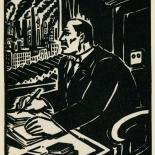 1939_masereel_noir_blanc_4.25x6.25_pl18_dlw, Du Noir au Blanc PL18, Frans Masereel, Masereel, 1939, Woodcut, Gallery East, Gallery East Network