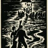 1939_masereel_noir_blanc_4.25x6.25_pl53_dlw, Du Noir au Blanc PL53, Frans Masereel, Masereel, 1939, Woodcut, Gallery East, Gallery East Network