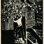 1939_masereel_noir_blanc_4.25x6.25_pl56_dlw, Du Noir au Blanc PL56, Frans Masereel, Masereel, 1939, Woodcut, Gallery East, Gallery East Network