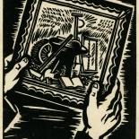 1939_masereel_noir_blanc_4.25x6.25_pl57_dlw, Du Noir au Blanc PL57, Frans Masereel, Masereel, 1939, Woodcut, Gallery East, Gallery East Network