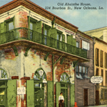 absinthe_house_la_1920_600_dl_w, Art Nouveau, Absinthe House New Orleans, Postard, 1920, Linen Postcard, Objets d'art, Gallery East, Objets, Gallery East Network