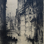 brewer_james_alphege025w, Venice (Rio Dei Greci), Alphege Brewer, 1920, etchings, British Artist, Early 20th Century, Venice, Italy, Gallery East, Brewer, Gallery East Network