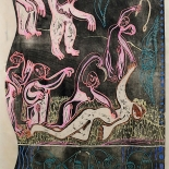 alford_orpheus_1989_23x40_w, Orpheus Slain by Thracian Women, Al Ford, 1989, Woodcut Print. Gallery East, Ford, Gallery East Network