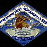 1910c_label_peppers_sarsparilla_soda_4x6_dlw, Peppers Sasparilla, 1910c, Lithograph, Advertising Label, Gallery East, Gallery East Network
