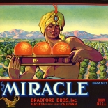 1920c_label_miracle_orange_dlw, Miracle Brand, 1920c, Lithograph, Advertising Label, Gallery East, Gallery East Network