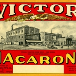 1920c_label_victor_macaroni_5x8.5_dlw, Victor Macaroni, 1920c, Lithograph, Advertising Label, Gallery East, Gallery East Network