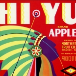 1930c_label_hiyu_apples_deco_chief_9x10_dlw, Hi Yu Apples, 1930c, Lithograph, Advertising Label, Gallery East, Gallery East Network