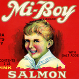 1930c_label_mi_boy_salmon_4.25x9.5_dlw, Mi Boy Salmon, 1930c, Lithograph, Advertising Label, Gallery East, Gallery East Network