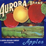 1940c_label_aurora_apples_blue_8.5x10_dlw, Aurora Apples Blue, 1940c, Lithograph, Advertising Label, Gallery East, Gallery East Network