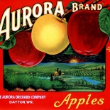 1940c_label_aurora_apples_red_8.5x10_dlw, Aurora Apples Red, 1940c, Lithograph, Advertising Label, Gallery East, Gallery East Network