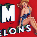1940s_label_buxom_melons_4.25x9.5_dlw, Buxom Melons, 1940c, Lithograph, Advertising Label, Gallery East, Gallery East Network