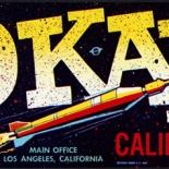 1950c_label_aokay_spaceship_3.75x13_dlw, A-Okay Fruit, 1950c, Lithograph, Advertising Label, Gallery East, Gallery East Network