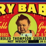 1950c_label_cry_baby_grapes_4x13_dlw, Cry Baby Grapes, 1950c, Lithograph, Advertising Label, Gallery East, Gallery East Network