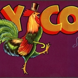 1950c_label_gay_cock_fruits_4.25x11_dlw, Gay Cock Brand, 1950c, Lithograph, Advertising Label, Gallery East, Gallery East Network