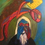 alford_moses_1978_01w.jpg, Moses Reading the Ten Commandments, Al Ford, 1978, Oil on canvas, Gallery East, Original Art, Paintings, Ford, Gallery East Network