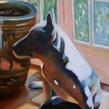 beck_1980_01w, Dog Beside a Chinese Jar, Ken Beck, 1980, Oil on Paper, Original Art, Paintings, Gallery East, Beck, Gallery East Network