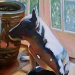 beck_1980_01w, Dog Beside a Chinese Jar, Ken Beck, 1980, Oil on Paper, Original Art, Paintings, Gallery East, Beck, Gallery East Network