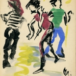 dancing_darling_jack_1981_8.25x10.25_w, Dancing, Jack Darling, 1981, Acrylic on cardboard, Gallery East, Original Art, Paintings, Darling, Gallery East Network