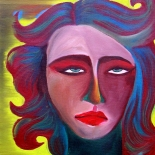lucia-levey_aurora_002w, Girl 5, Aurora Lucia-Levey, 2003, Oil on canvas, Original Art, Paintings, New York Artist, Downtown MTV, Gallery East, Levey, Gallery East Network