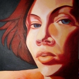 lucia-levey_aurora_self_portrait.jpg, Self Portrait, Aurora Lucia-Levey, 2007, Acrylic on canvas, Original Art, Paintings, New York Artist, Downtown MTV, Gallery East, Levey, Gallery East Network