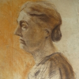 alford_old_woman.jpg, Self Portrait, Al Ford, Pencil and charcoal on paper, 1958, Drawings, Original Art, Gallery East, Ford, Gallery East Network