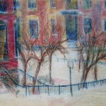 alford_snowstorm_dartmouth_st_1977_19x25_w, Snowstorm Dartmouth Street, Al Ford, 1982, Original Art, Pastels, Gallery East, Ford, Gallery East Network