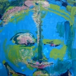 savarino_2006_blue_green_medicine_buddha_12x12w, 2006, Encaustic on canvas, Gallery East, Gallery East Boston, Blue Green Medicine Buddha, Paola Savarino, Sarvino