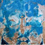 savarino_2007_big_sky_buddha_9x12_w, 2007, Encaustic on canvas, Gallery East, Gallery East Boston, Big Sky Buddha, Paola Savarino, Sarvino
