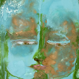 savarino_2007_blue_green_tara_w, Blue Green Tara, Paola Savarino, 2006, Encaustic on canvas, Gallery East, Gallery East Boston, Paola Savarino, Sarvino