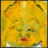 savarino_2007_yellow_buddha_4x4w, 2007, Encaustic on canvas, Gallery East, Gallery East Boston, Paola Savarino, Sarvino, Yellow Buddha