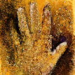 savarino_2008_golden_hand_7x9w, 2008, Acrylic & mineral on canvas, Gallery East, Gallery East Boston, Paola Savarino, Sarvino, Golden Hand