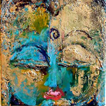 savarino_buddha_vision_00w, Medicine Buddha (gold), Paola Savarino, 2006, Encaustic on canvas, Gallery East, Gallery East Boston, Paola Savarino, Sarvino