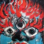 savarino_dakini_11x14w, 2007, Encaustic on canvas, Gallery East, Gallery East Boston, Dakini, Paola Savarino, Sarvino