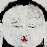 chenrisic_black_12x12w, Chenrezig (black), Paola Savarino, 2003, Encaustic on canvas, Savarino, Gallery East, Gallery East Boston