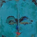 savarino_2007_blue_medicine_buddha_12x12w, 2007, Blue Medicine Buddha, Encaustic on canvas, Gallery East, Gallery East Boston, Paola Savarino, Savarino